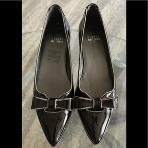 Stuart Weitzman Patent Leather Bow Pointed Toe